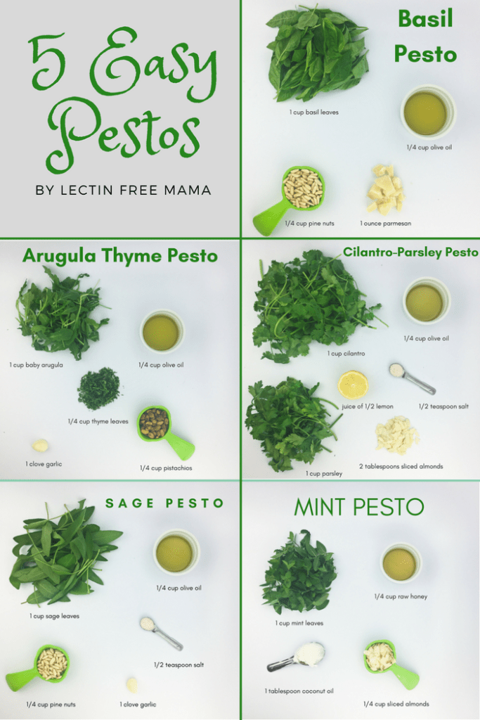 Overloaded with summer herbs? Try these 5 easy pesto recipes from Lectin Free Mama