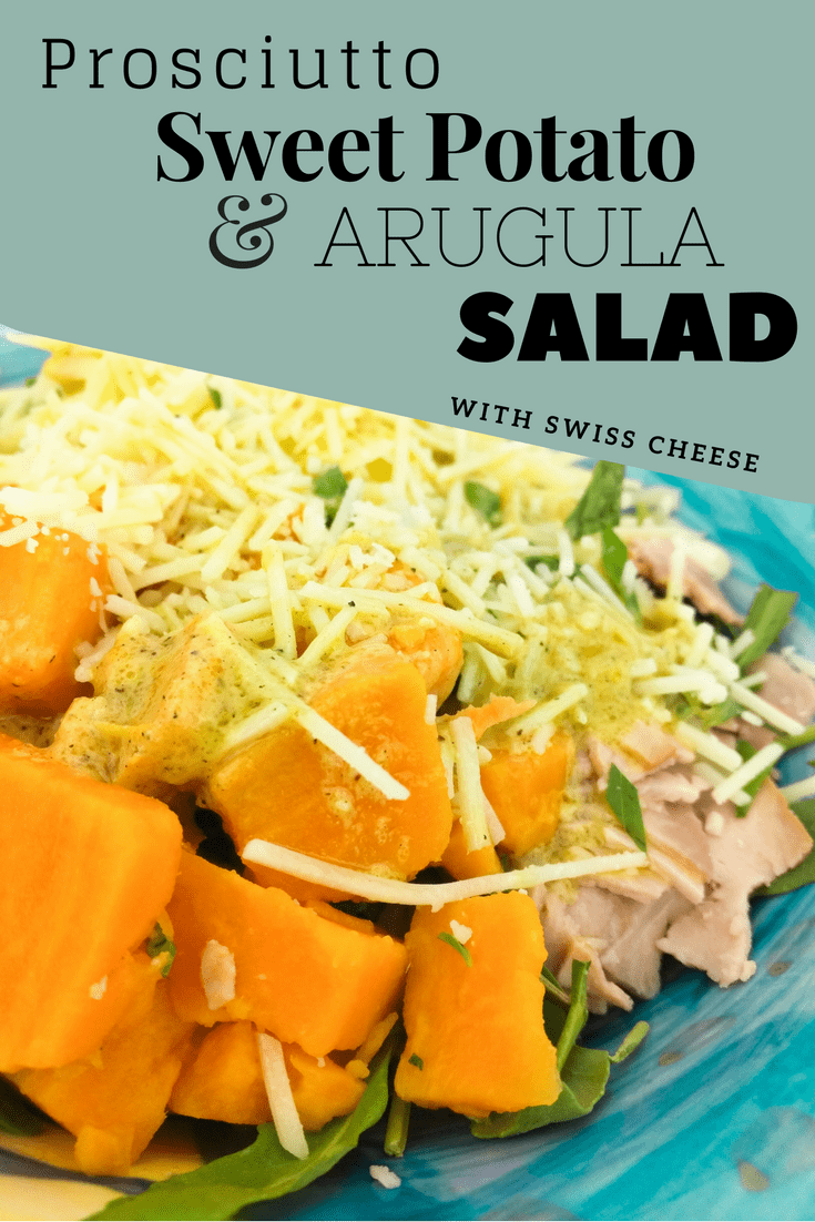 Unlike any salad you've had before, prosciutto, sweet potato, and arugula salad with real swiss cheese--lectin free, Plant Paradox approved!
