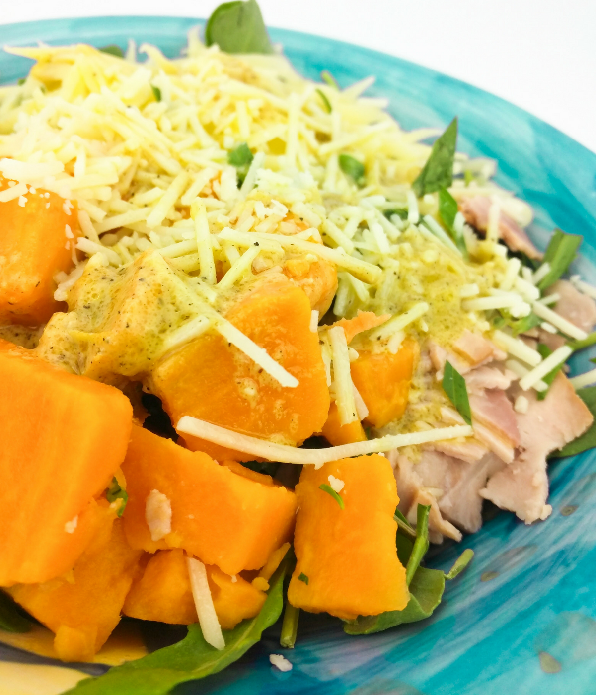 Top your salad with a delicious combination of cooked sweet potatoes, prosciutto di parma, real swiss cheese, and a spicy dijon vinaigrette--lectin free and Plant Paradox approved!