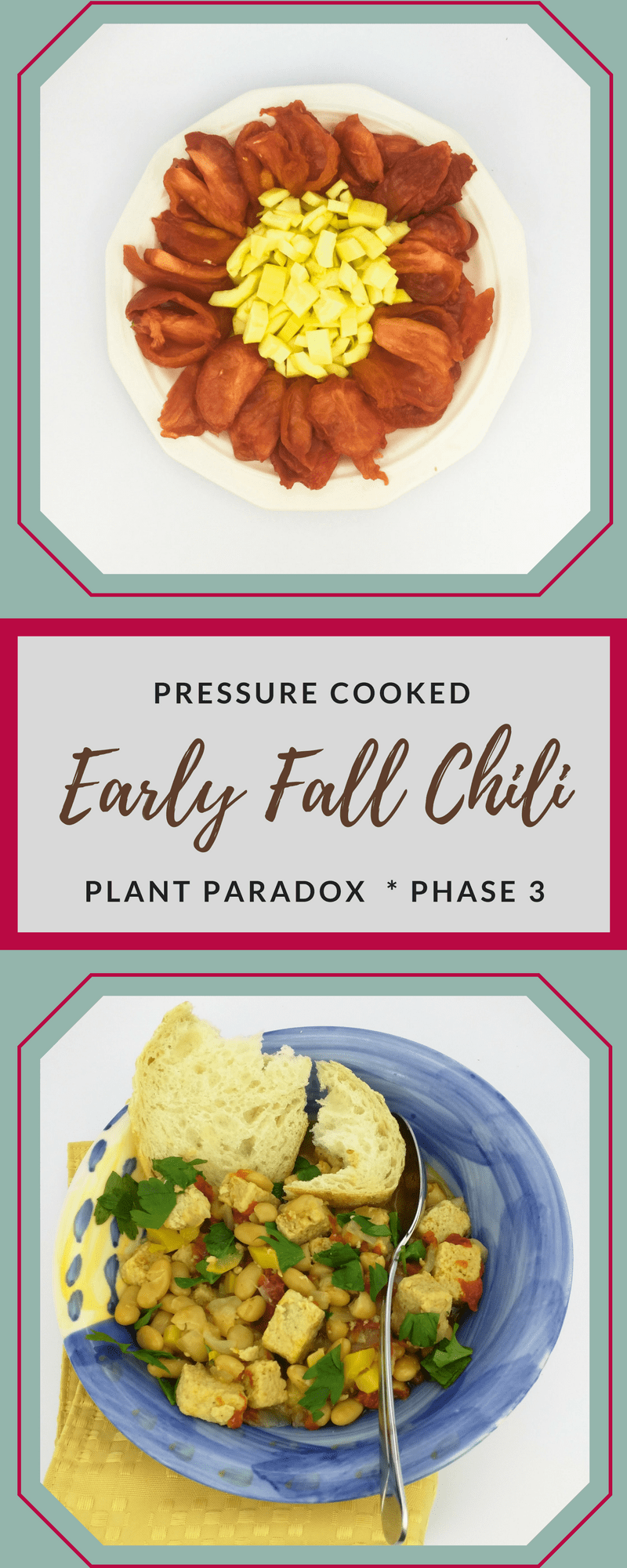 Make pressure cooked early fall chili lectin free with peeled and deseeded tomatoes and squash plus delicious chicken and white beans.