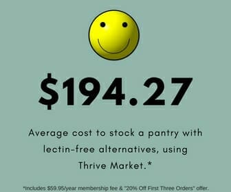 Average cost to stock a pantry with lectin-free alternatives, using Thrive Market.