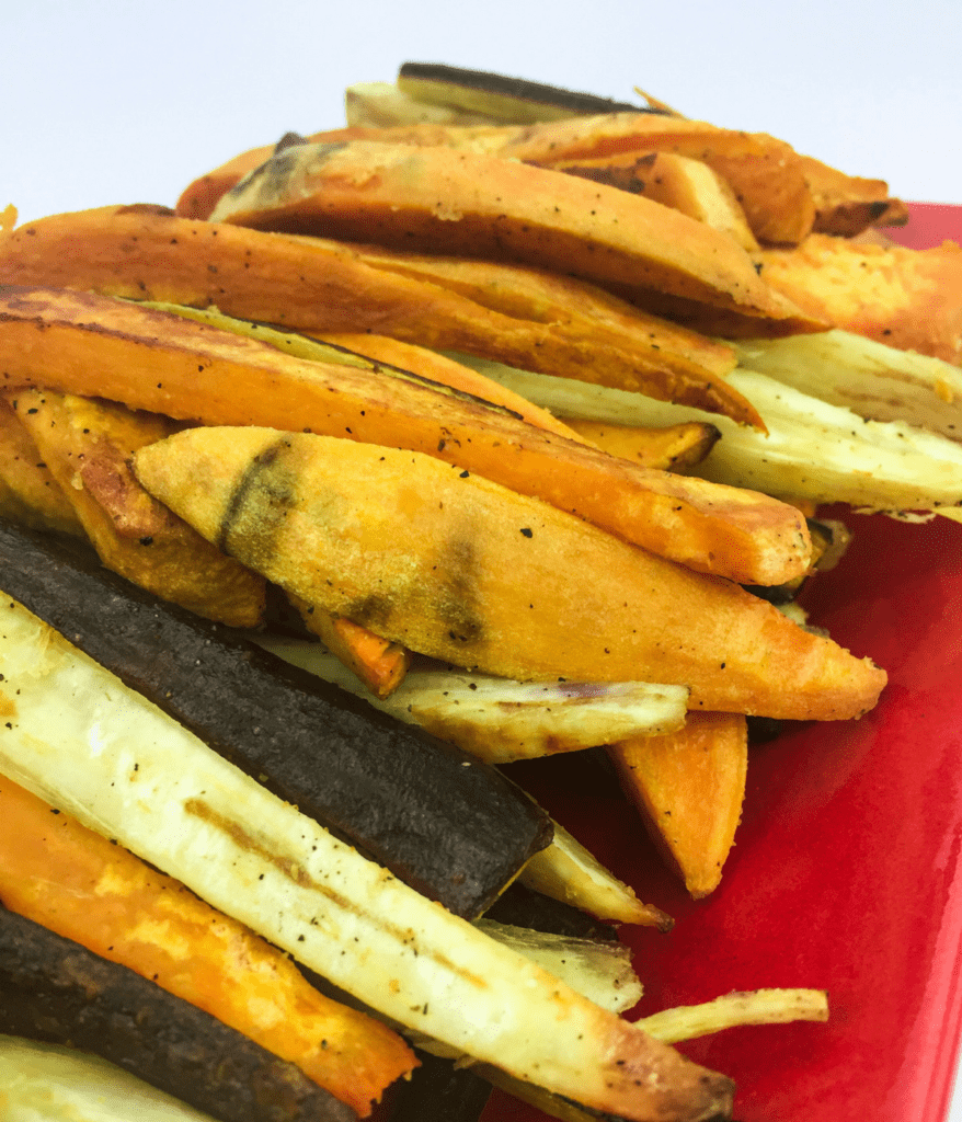 Try some game day rainbow fries for your super bowl party, made with orange sweet potatoes, yellow yuca root, and purple carrots. Lectin free, Paleo, and AIP