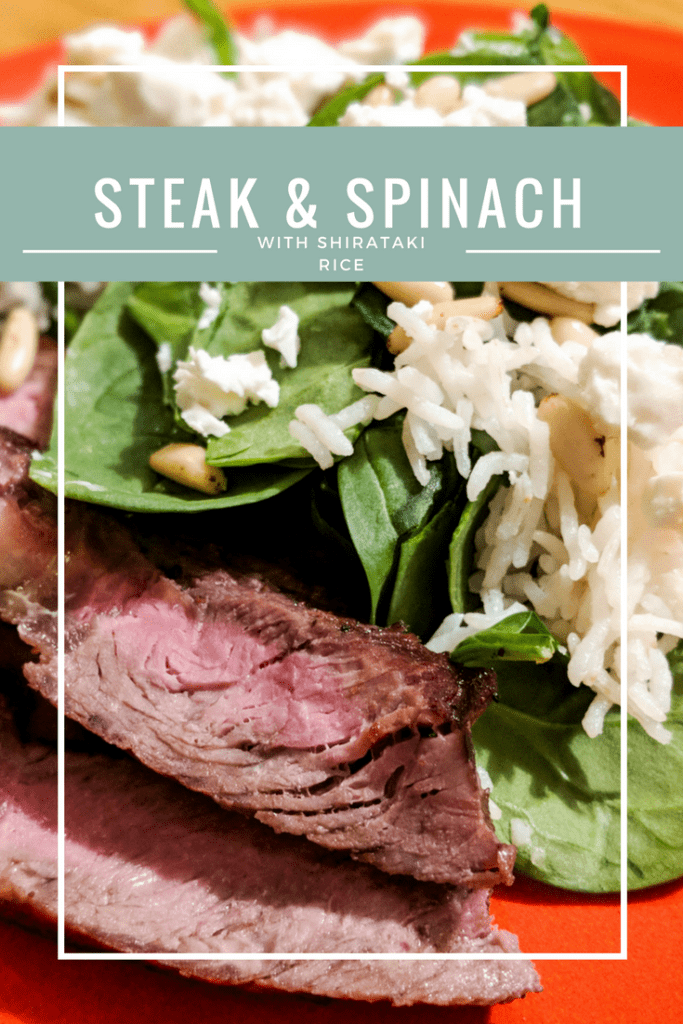 Go green and lectin free this winter with a hearty steak and spinach salad with shirataki rice and real Feta cheese.