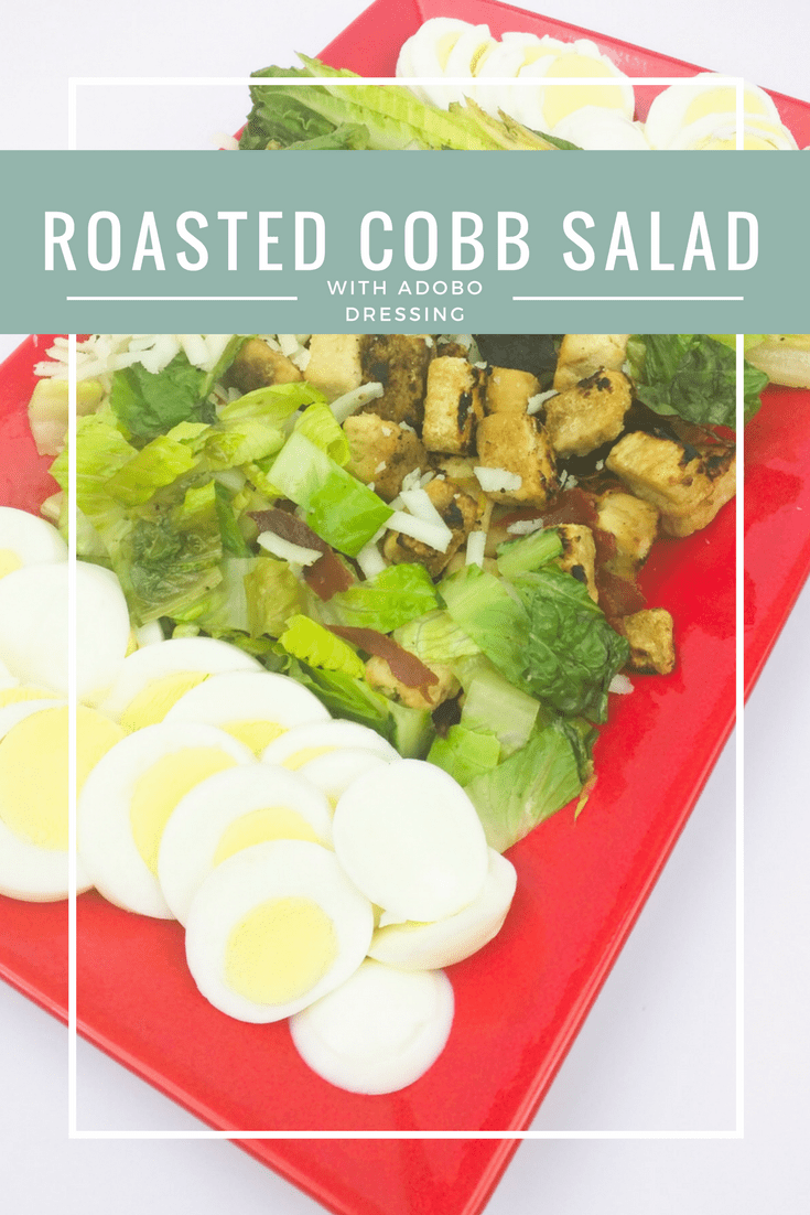 Go green and lectin free this winter with a roasted cobb salad. Roasted romaine is paired with traditional chicken, hard-boiled eggs, avocados, and an adobo dressing.