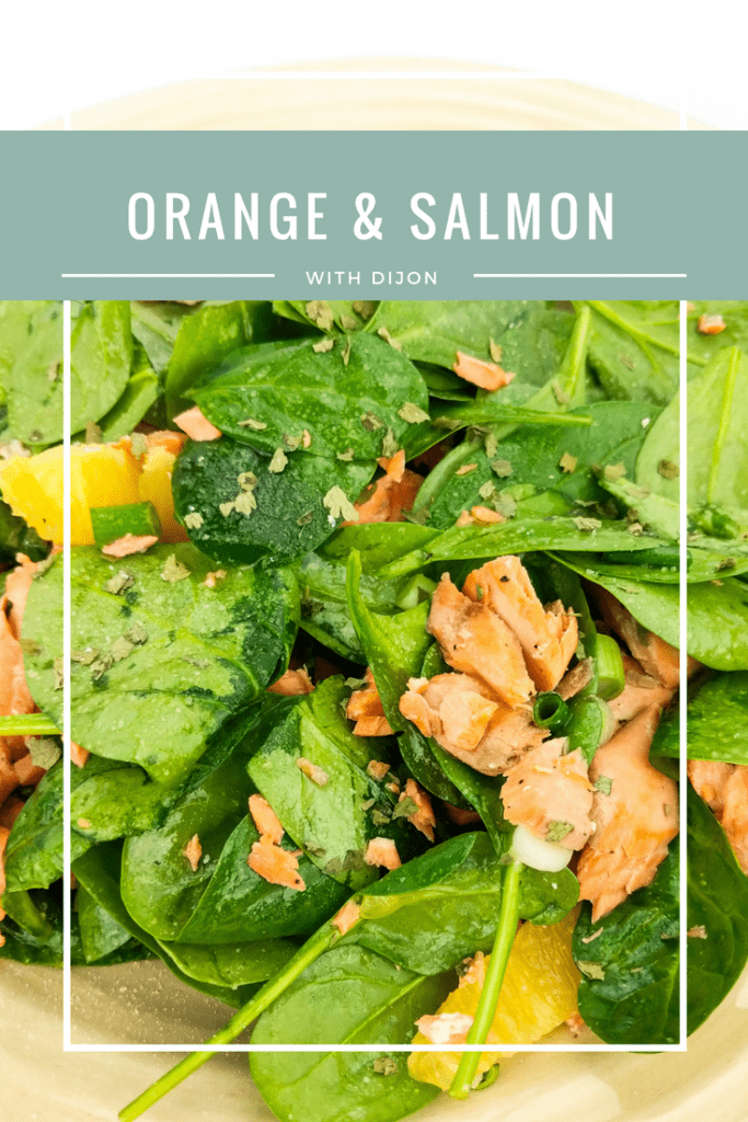 Go green and lectin-free this winter with orange & salmon salad with spinach, fresh navel oranges, hazelnuts, feta cheese, and a Dijon vinaigrette.