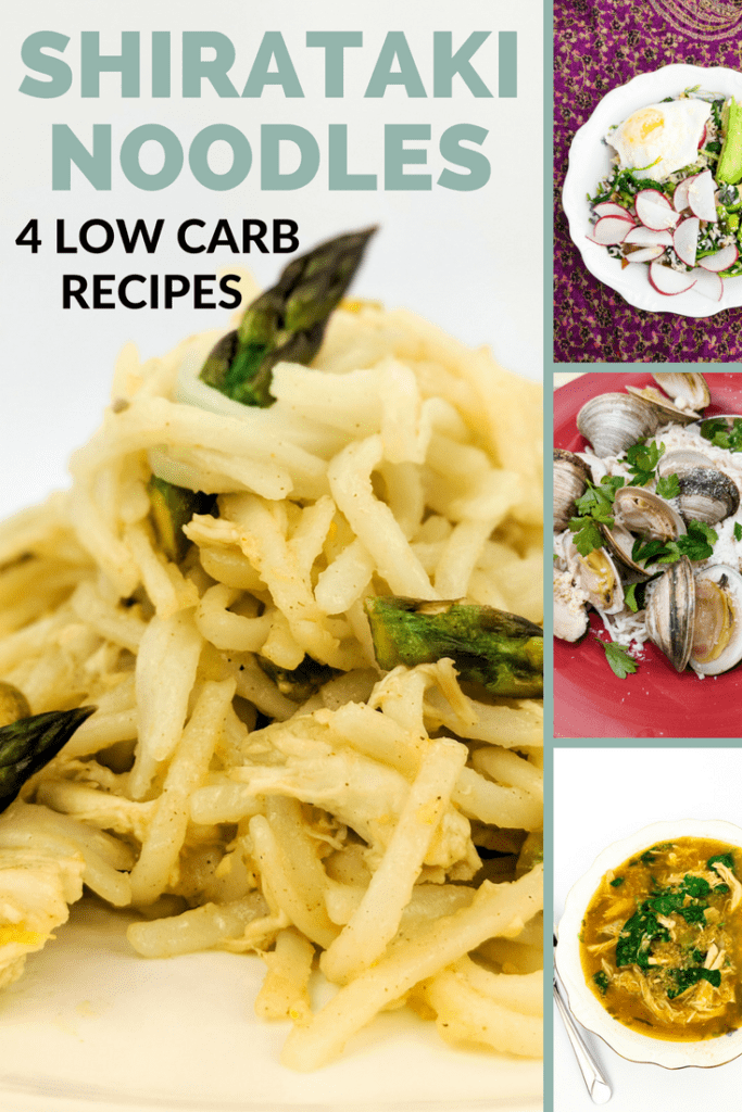 Get 4 different recipes for shirataki noodles--a low carb, lectin-free alternative to wheat flour pasta.
