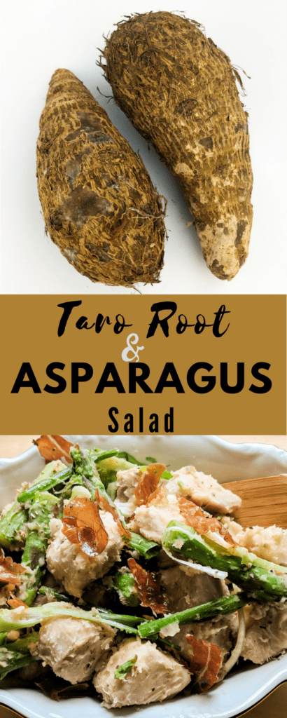 Learn how to prepare taro root with this hearty taro root and asparagus salad--lectin-free, nightshade-free, and Plant Paradox approved!