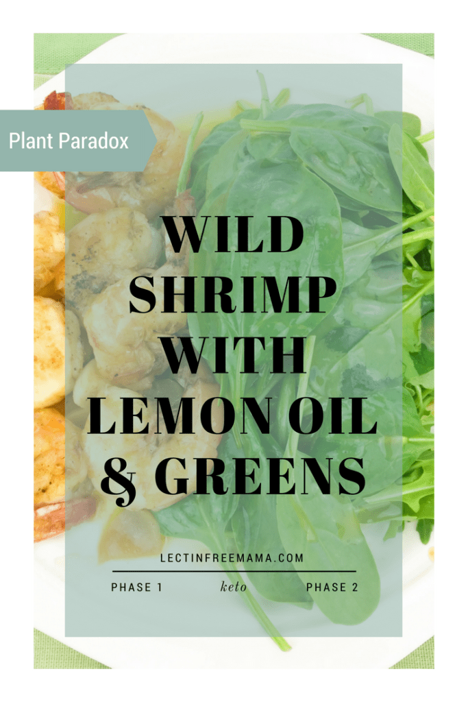 Plant Paradox, lectin-free recipe for wild-caught shrimp and greens with a light lemon oil.