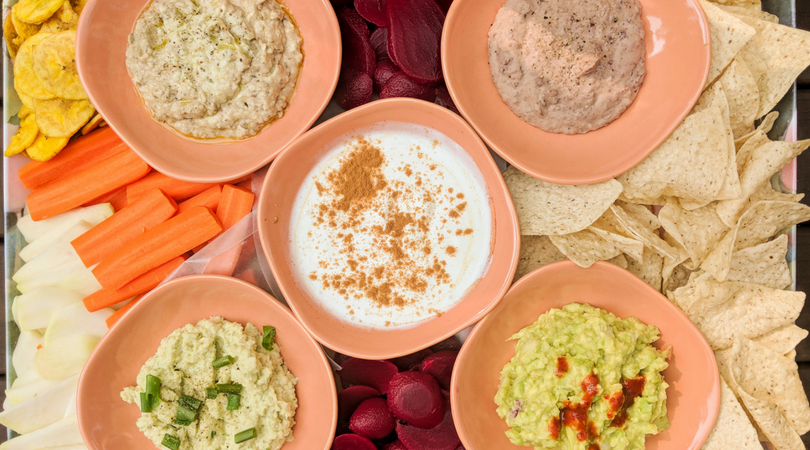 Dips for a lectin-free snack idea.