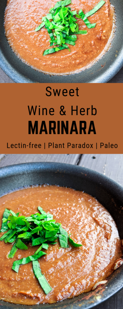 A deliciously rich and creamy alternative to tomato pasta sauce with puréed sweet potato, polyphenol-rich red wine, and chopped fresh herbs. Lectin-free and Plant Paradox approved for phase 2.