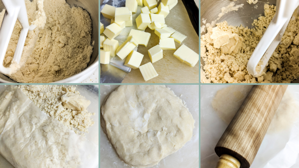 Process for making a cassava flour pie crust in a stand mixer.