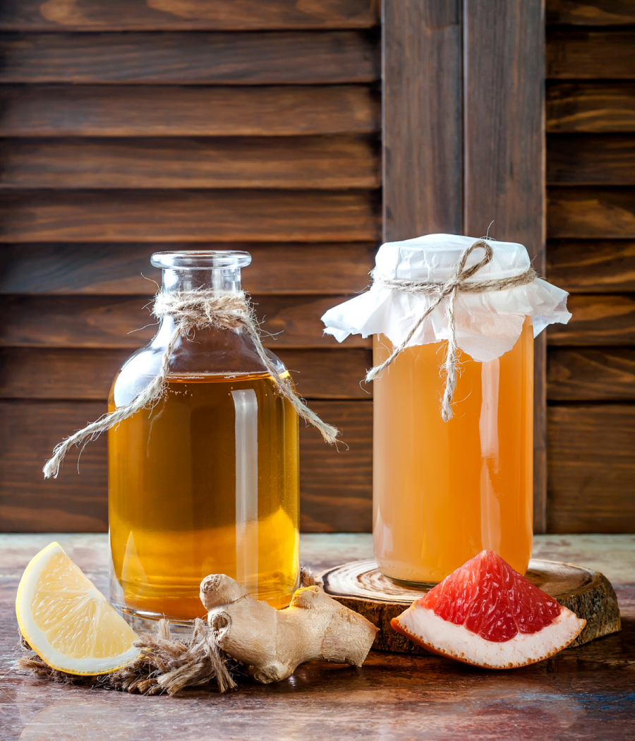 Homemade fermented beverages to heal your gut--kefir, kombucha, kvass, and kraut juice.