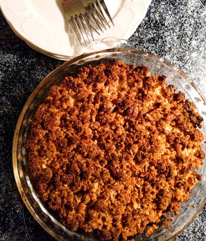 Lecitn-free apple pie with walnut crumb topping for Thanksgiving.