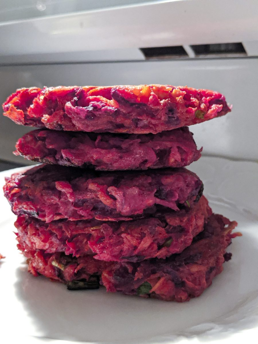 Lectin-free purple root vegetable latkes for Hanukkah