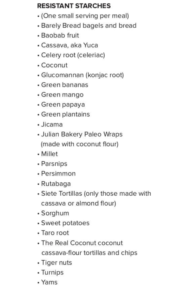 A list of resistant starch foods recommended on the Plant Paradox diet.